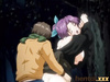Purple-haired anime chick in a black kimono gets banged on the kids' playground