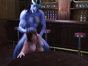 blue man bends babe