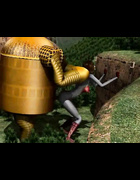 Robot roughs up a babe in a red unitard in an intriguing outdoor setting.