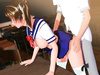 Schoolgirl is defiled during a sexy fuck session with her uniform still on her body.