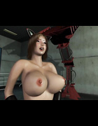 Broad with big tits is on her knees when servicing a dark, mysterious creature.
