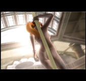 Sexy vixen familiarizes herself with a stripper pole in an attempt to perform.