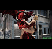 Tattooed blonde babe gets fucked badly by angry red dragon with horns
