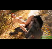 Tattooed red beauty fucking with werewolf in the forest