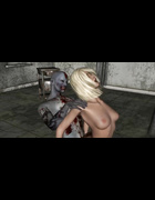 Zombie fucks a hot blonde with big boobs