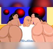 Big ass lesbian cartoon sluts involved into threesome